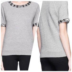 J. Crew Jeweled Short Sleeve Sweatshirt
